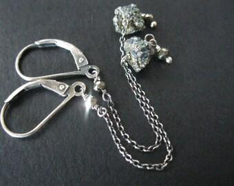 titanium pyrite beaded earrings. long chain titanium pyrite organic nugget earrings. oxidized sterling silver chain. rustic modern jewelry