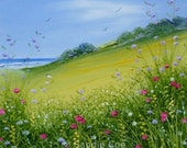 "Original Oil Painting ""Coastal Path"" 4x4 Miniature in 9x9 Double Mount Sandie Coe"