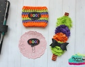Crochet Striped Halloween Cozie { boo } purple lime black orange planner band, paper planner clip Coffee cup cozy sleeve baby headband