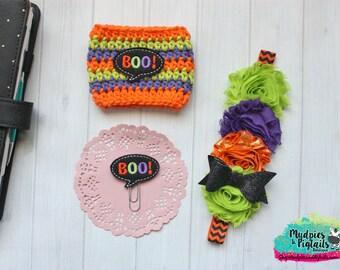 Crochet Coffee Cozy Striped Halloween { boo } purple lime black orange planner band, paper planner clip cup cozie sleeve baby headband