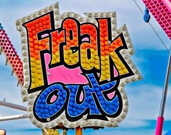 Freak Out Carnival Ride Neon Sign Fine Art Print- Carnival Art, County Fair, Nursery Decor, Home Decor, Children, Baby, Kids
