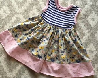 Girls Spring Dress - butterfly and striped spring dress, nautical, pastel, knit,