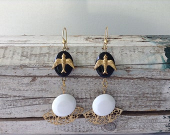 Large Black, White, and Gold Bird Drop Earrings