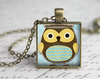 Whimsical Owl Pendant,Owl Jewelry Necklace , Owl Charm