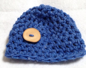 Ready to ship blue Hat, blue Beanie, hat withwood button, medium size childs hat