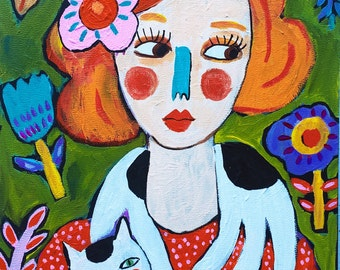 Folk Art Cat Lady on Canvas Ready to Hang