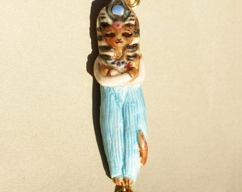 Baste the Egyptian Cat Goddess Pendant Necklace Handmade Bead