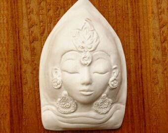Matte White Tara Ceramic Goddess Face Kwan Yin Buddhist Tibetan Buddism Porcelain Sculpture Quan Yin Buddha Art