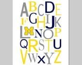 U of M Alphabet - University of Michigan Nursery Art Alphabet Print - Baby Boy Sports Nursery Art Print - CHOOSE YOUR COLORS
