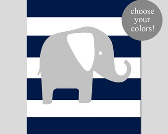 Elephant Stripe Nursery Art Print Elephant Nursery Decor - 8x10 - CHOOSE YOUR COLORS - Shown in Gray, Yellow and More