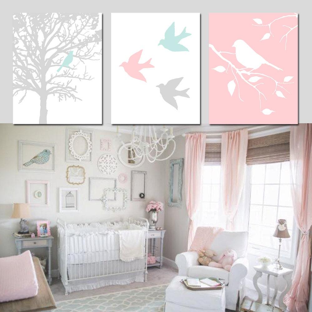 pink aqua nursery decor baby girl nursery wall art set of