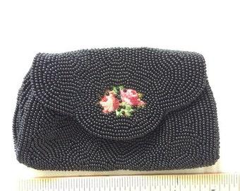 Black Glass Bead and Embroidered Ladies Purse, Clutch, Handbag, Heirloom, Antique, Japan