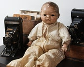 Large Antique American Character COMPOSITE DOLL with Stuffed Body- Spooky Doll