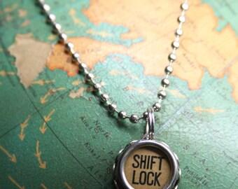 Vintage TYPEWRITER KEY Necklace- Shift Lock- Industrial Cream Type- Typewriter Key Jewelry