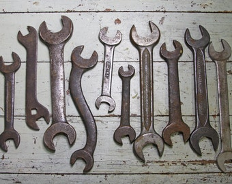 Vintage Tools- WRENCH LOT- Huge Collection of Old Metal Tools- Sculpture- Reuse- Recycle- Instant Collection