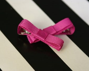 Fun Fuschia Bow Hair Clip - set of 2 - Ready to Ship