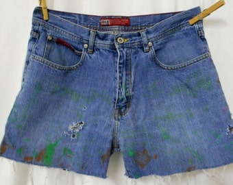 Size 10 11 Destroyed Jean Shorts Distressed Artsy Paint Womens Boho Western Sz 31