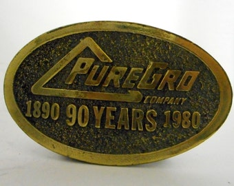 PureGro Co 1980 Vintage Belt Buckle Limited Edition Pure Grow Distressed Indie Folk