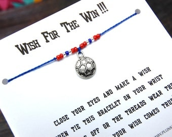 Wish For The Win!!! - Wish Bracelet With Flat Soccer Ball Charm - Custom Made In Your Team Colors!!!