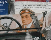 Road Trip' Collage art on recycled Book Cover