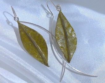 Washi paper leaf and Sterling Silver earrings