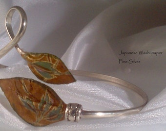 Fine Silver wrap bracelet with Washi paper leaves