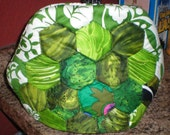 Hexigon Quilted Green Tea Cozy, handmade, One of a Kind