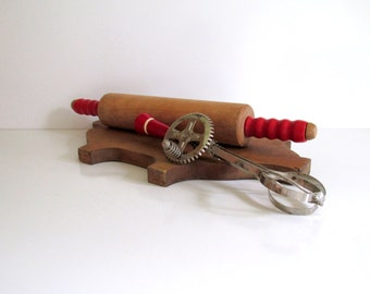 Vintage Red Wood Rotary Hand Egg Beater Wood Rolling Pin Red Wood Handles