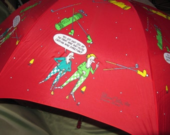 PETE and CLETE UMBRELLA, Vintage red golf umbrella with cartoon image, Pete and Clete Cartoon on Large red golf,Golf Umbrella,Pete and Clete