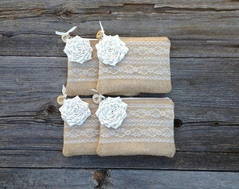 4 Burlap and Lace Bridesmaid Clutches, Personalized Clutch, Ivory Bridesmaid Gift, Rustic Wedding Bag, Woodland Wedding, Bridal Party Gifts