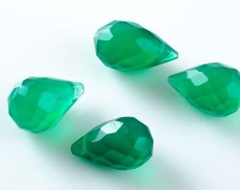 Green Onyx Teardrop Faceted Briolette Drops