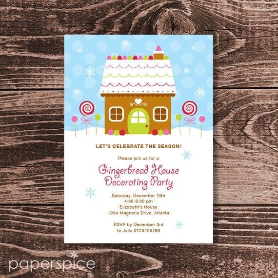 Gingerbread house decorating party invitation diy Gingerbread house decorating party invitations
