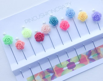 Resin Rose Pins - Decorative Sewing Pins - Flower Stick Pins - Gift for Quilter - Secret Sister Gift - Embellishment Pins - Sewing Gift