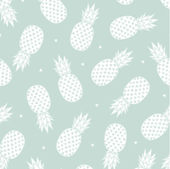 Spoonflower S Pineapple With Mint Background Fabric