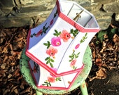 Pink and Green Lamp Shade, Floral Lampshade Vintage Embroidery 5x8x6 high hex bell clip - Funky Boho Light!