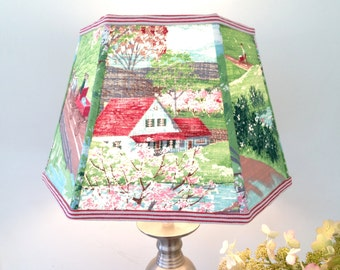 """Folk Farm Lamp Shade, Lampshade in Red and Green Vintage Bark Cloth, Farm Scenes Lighting, 9"""" x 14"""" x 9"""" Washer Top - Country Home Decor"""