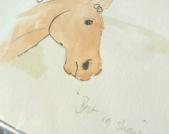 Best in Show Horse painted greetings card blank inside