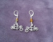 Sterling Silver Tandem Bicyle Earrings with Swarovski crystals