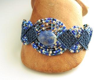 Sodalite Macrame Bracelet - Blue Bracelet - Micro Macrame Bracelet - Handmade Bracelet - Navy Bracelet