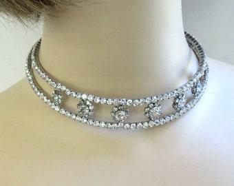 Clear ICE Rhinestone Choker Necklace or Headband – Vintage Bride