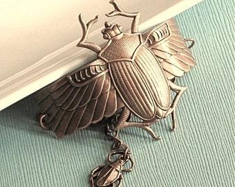 Brass Scarab Beetle Cuff Bracelet