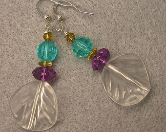 Vintage German Lucite Curved Leaf Dangle Drop Bead Earrings - Purple, Turquoise, Crystal, Vintage German Yellow Glass Beads -GIFT WRAPPED