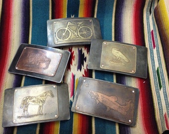 Riveted Etched Belt Buckle,  Assorted  - Acid Bath Series