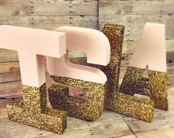 Blush and gold glitter letters blush Glitter Letters glitter baby decor blush nursery letters baby nursery decor gold glitter gifts