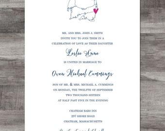 Map Invitation, Cape Cod Invitation, Cape Cod Wedding Invitation, Cape Cod Map