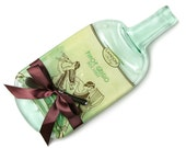 Large Candoni Pinot Grigio Melted Wine Bottle Cheese Tray, Italian Wine, Recycled Glass