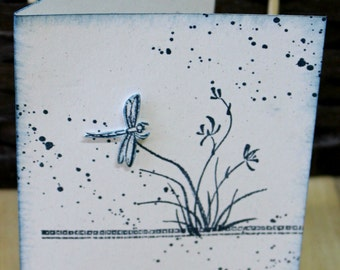 Peaceful Dragonfly - HandStamped Card