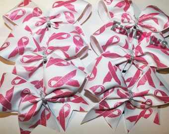 Beautiful Pink Ribbon Awareness Cheer bow by FunBows