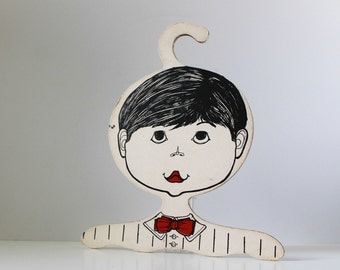Vintage Boy's Head Hanger, 1960's Children's Clothing Store Display, Photo Prop