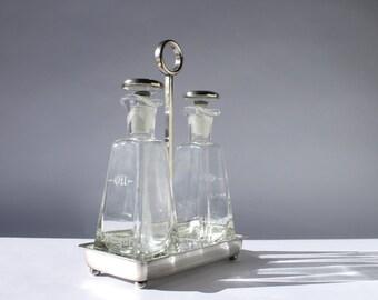 Vintage Sheffield Silver Oil & Vinegar Cruet Set, Ground Glass + Sterling Caps, Vintage Home Decor